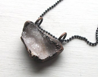 Druzy Pendant Rough Stone Jewelry Copper Necklace Ice Pendant Raw Crystal Stone Pendant Silver Statement Necklace