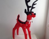 Vintage Blow up Reindeer.   Inflatable Christmas Decoration.  Made in Taiwan.   1970's.