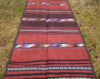 "5 ft 6 x 2 ft 9""   164 x 83 cm. Big Dark Red Runner Hand woven Rug/Kilim. Wool Tapis"