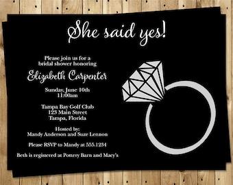 Diamond Ring, Bridal Shower, Invitations, Bridal, Wedding, Black, Diamond, Ring, 10 Printed Invites, FREE Shipping, SYSBKR, She Said Yes