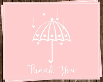 Bridal Shower, Thank You Cards, Pink, Wedding, Hearts, 24 Printed Notes with Envelopes, FREE Shipping, SHWPK, Shower Her With Love Blush