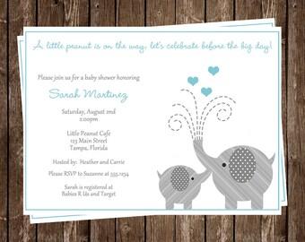 Elephant, Baby Shower, Invitations,  Boy,  Aqua, Gray, Polka Dots, 10 Printed Cards with Envelopes, FREE Shipping, LIPAQ, Little Peanut