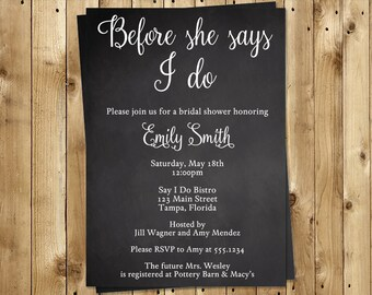 Bridal Shower Invitations, Chalkboard, Wedding, Black, White, Before She Says I Do, 10 Printed Invites, FREE Shipping, Chalk It Up To Love