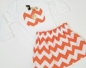 SALE Custom Halloween Fall Outfit- Gold Sparkly Initial -Pumpkin- Baby Toddler Girls Skirt Set- Orange Chevron High Waist - Ships Tomorrow