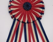 Red White and Blue Cocarde Cockade With Vintage Button French Coquarde