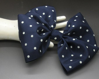 Deep Blue Bow With White Polka Dots