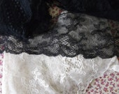 Small Antique Vintage Lace Collection - Black & Beige - X6 Pieces - Mixed Condition - for Re-use