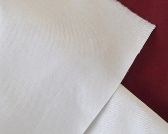 Plain White Cotton Twill Fabric - Historical Foundations Reenactment - per Metre 60'' or 152cm Wide