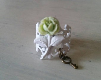 Secret Garden Mint Green Mini Cabbage Rose Filigree Ring with Skeleton Key Charm