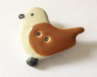 Ceramic BIRD pin brooch - handmade hand-painted pottery badge brown