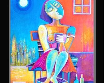 Abstract painting Modern Art Original Oil on canvas Wine Maker Marlina Vera Gallery Figurative Pop Artwork Expressionism vin peinture Fauve