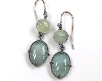 Green Beryl Aquamarine Minimal Style Earrings