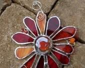 Stained Glass Flower - Handmade - Suncatcher - Orange - Red - Gift - Window Decor