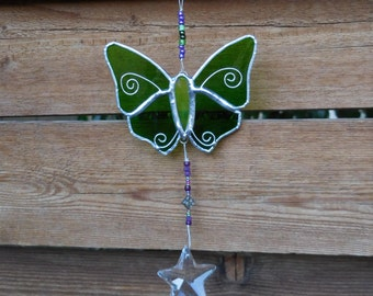 Stained Glass Butterfly with Prism- Suncatcher-Handmade-Birthday-Mothers Day-Fathers Day-Unique-Window Decor-Gift for him or her-Anniversary