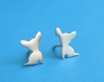 ON SALE Tiny sterling silver Chihuahua Earrings Dog Studs Chihuahua jewelry  love my pet jewelry animal earrings