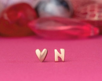 Heart Earrings Initial Stud Earring Extra Tiny Sterling Silver Studs Personalized Jewelry love graduation day summer