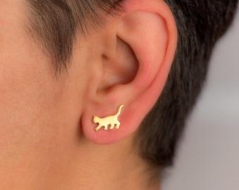 Gold Cat Earrings Cat Studs sterling silver Kids Earrings Teen Jewelry Rose Cat Gold pet jewelry Kitten earrings gift pet animal earrings