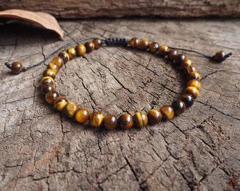 Tiger Eye Unisex Knot Anklet, 6mm beads
