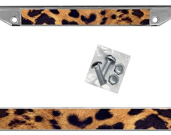 Leopard License Plate Frame Personlaize Gifts Girls Ladies Plate Holder Large Big Cats Exotic Jungle Leopards 2 Mounting Screws & Nuts