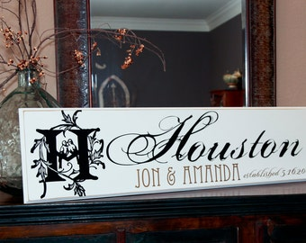 12x40 Personalized Established Family Name Sign  --  Wedding Couple Style