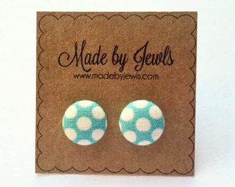 Fabric Button Earrings - Teal Dots - Buy 3, get 1 FREE