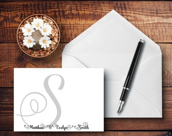 Personalized - INITIAL WEDDING COUPLE - Note Cards - Thank You - Personalized Stationery - Stationery Set - Wedding Stationery - Engagement