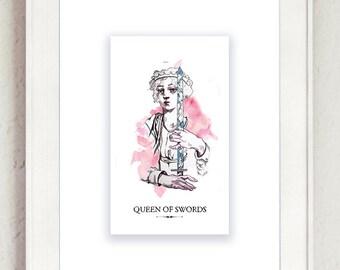 Queen of Swords Tarot Print
