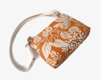 Orange Small Zippered Crossbody Purse - Fabric Messenger Bag - Small Orange Handbag - Cross Body Bag - Outside Pockets - Adjustable Strap