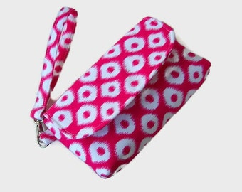Pink and White Canvas Wristlet -  Pink Phone Pouch - Small Pink Handbag - Phone Wristlet - Removable Strap -  Smartphone Clutch