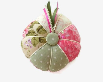 Pink and Green Pin Cushion - Pink Pincushion - Sewing Accessory - Needlecrafting - Needle Holder - Sewing Pin Holder