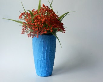 Blue Concrete Vase / Modern Country Cottage / blue vase / handcrafted vase / Carriage Oak Cottage