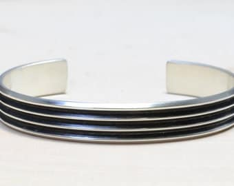 Modern Silver Cuff Bracelet with Ultra Chic Grooves - Solid 925 Sterling Silver with Patina BR656