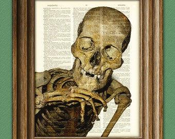 Hey there, Sexy! Skeleton awesome upcycled vintage dictionary page book art print