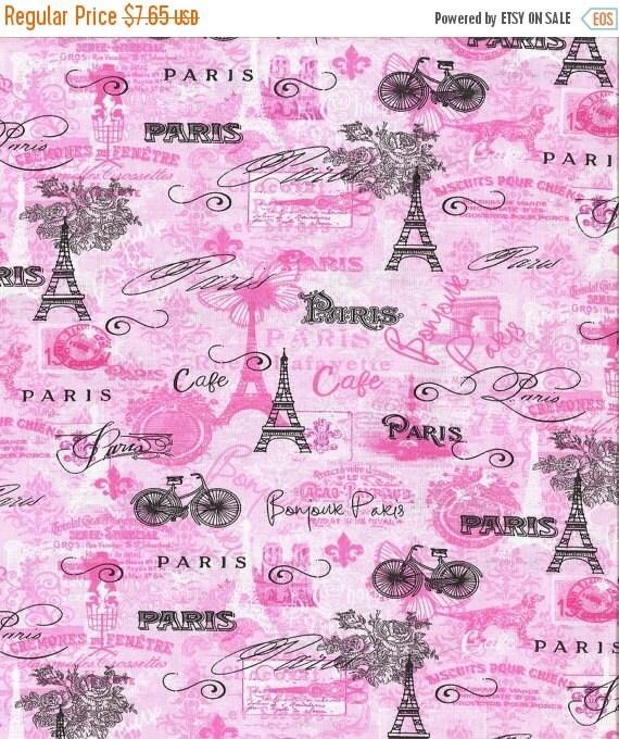 As Creation Pink Paris Pattern Eiffel Tower Childrens: Fun Pink Paris N Eiffel Tower Word Quilting Fabrics--HARD