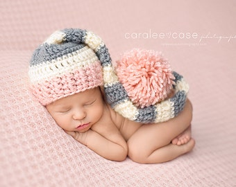 Elf Hat in Pink, Cream, and Grey