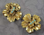 Vintage Frog and Lily Pad Faux Turquoise and Golden Clip On Earrings