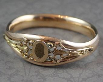 Vintage Bates and Bacon Filigree G Initial Gold Hinged Bangle Bracelet
