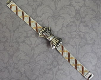 Vintage 1920s Brown and Ivory Enamel Mesh Silver Bow Bracelet