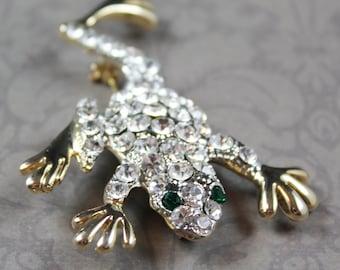 Vintage Rhinestone Encrusted Golden Frog Brooch with Green Eyes
