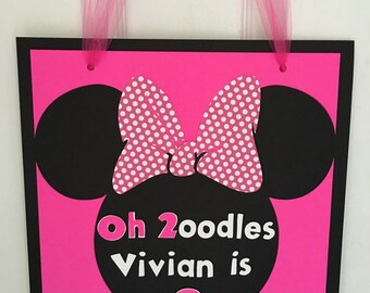 Pink Minnie Door Sign Minnie Mouse Inspired 2nd Birthday Party Door Sign Minnie Oh Toodles Decoration Hot Pink Minnie Die Cut Welcome Sign