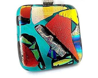 Dichroic Glass Pendant/ Fused Glass Pendant/Multi-Colored
