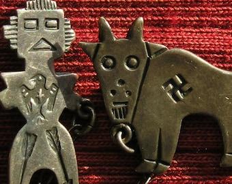 Harvey Era Southwest Sterling Silver Kachina Thunderbird Goat Bull Swastika Sweater / Tie / Double Pin