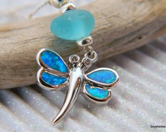 Dragonfly Fire Opal Pendant with Matching Turquoise Colored Sea Glass