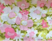 Full Vintage Flat Sheet with Pink and Green Floral