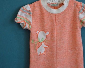 Vintage 1970s Baby Girl's Peach Jumpsuit with Mouse Applique - Size 9 Months