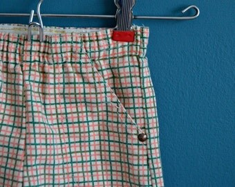 Vintage 1950s 1960s Pink, Green and White Plaid Pants - Size 2T