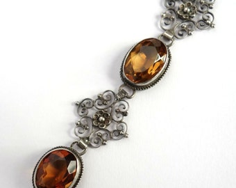 Stunning Unsigned Peruzzi Victorian Renaissance Italian Silver Filigree Citrine Vintage Antique Bracelet