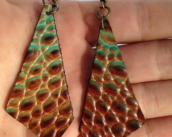 Boho Chic Copper brown and turquoise leather earrings