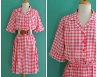 vintage pink gingham 80's does 50's day dress // pink shirt waist dress