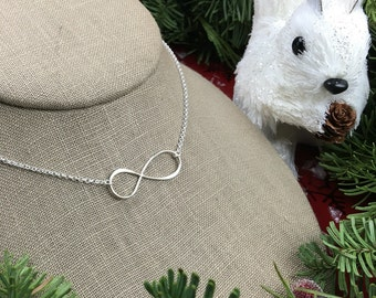 Large infinity symbol necklace in sterling silver, infinity necklace, silver infinity, eternity necklace, figure 8, infinity symbol